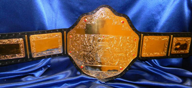 Big Gold Championship High Quality Embossed Leather Belt