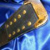 This belt tip is gold and has our ProAmBelts logo on it, which is the same with all of our stock belts having this custom championship title belt tip for www.ProAmBelts.com