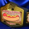 hot dog eating contest championship custom world title belt on a gold plated belt