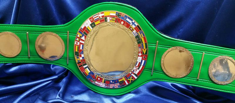 boxing custom championship belt green strap award trophy fantasy football