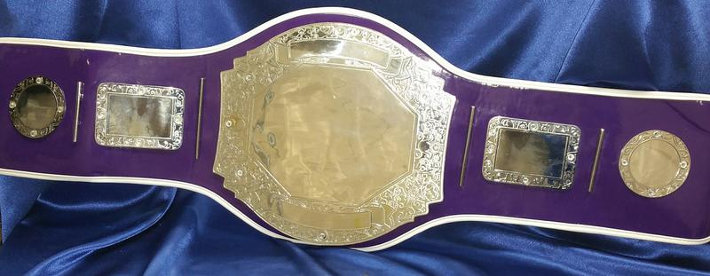 championship heavyweight wrestling title belt female purple pink