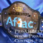 aflac custom championship title belt by ProAmBetlts. This was an amazing process working with Aflac and their team. This dual stacked chrome and beautiful slick look with the Aflac logo being stacked and hand painted!