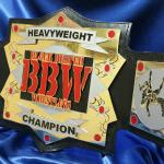 BBW heavyweight championship belt is on the line in TEXAS, Check out this huge belt, with lots of heavy metal stacked on top of each other. We have great craftsmanship on our metal as you can see from this beautiful fully custom premier championship belt by www.proambelts.com