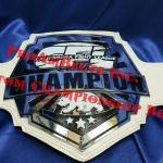 CFL California fight league championship mma award. This stacked metal belt and special design for an MMA title belt has a clean and smooth white leather strap and is chrome with great cutting details.