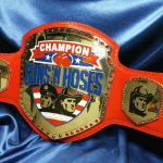 guns and hoses award, firefighters vs police competition trophy, boxing belt for blue vs red
