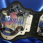 national award corporate sales trophy bank belt with 3d stacking plates and chrome base with colors
